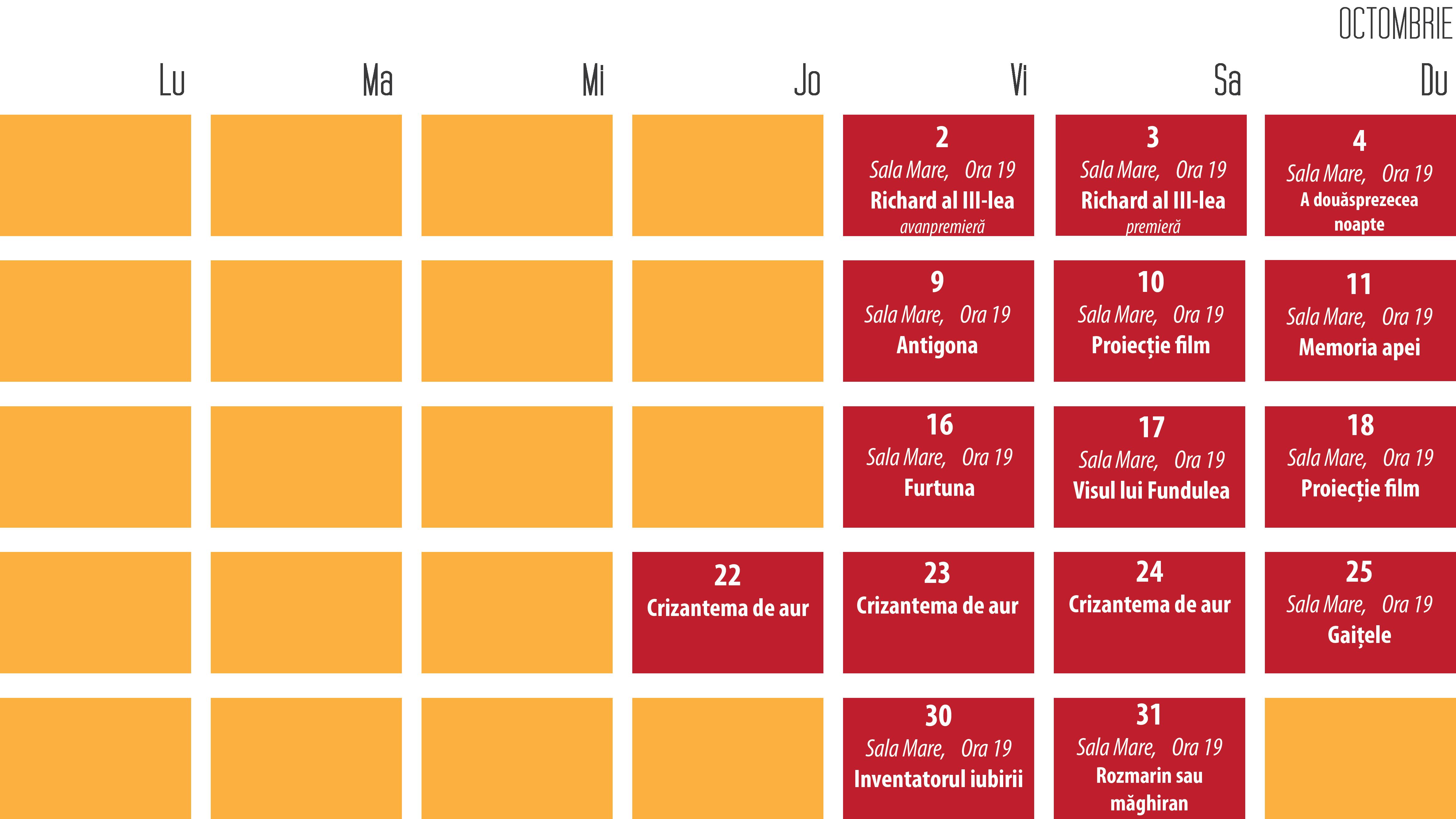 Program Octombrie 2015