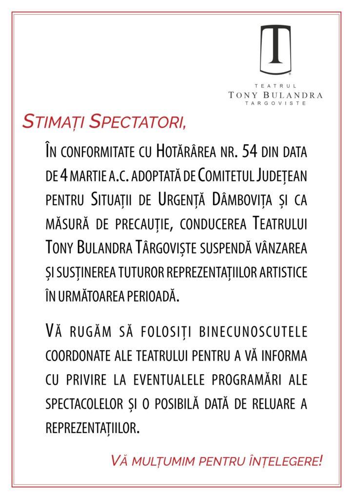 [:ro]SUSPENDARE SPECTACOLE[:] @ Teatrul Tony Bulandra